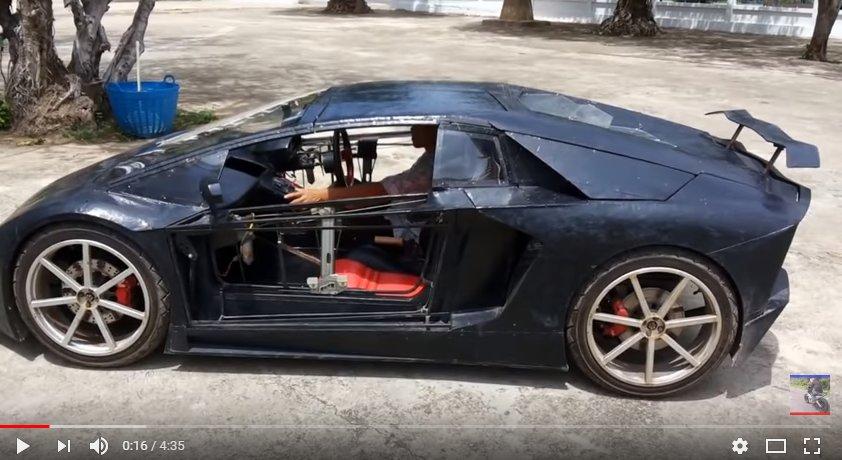 Китайский фермер сделал копию Lamborghini с агрегатом отмотоцикла