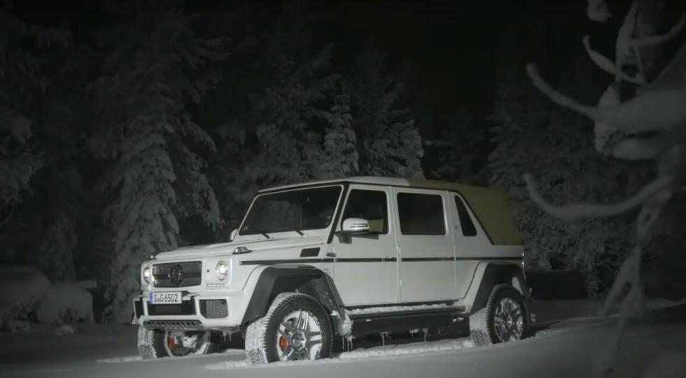 Чудный Mercedes-Maybach G650 Landaulet показал себя вдрифте поснегу