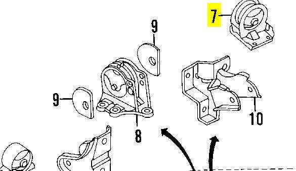 Фото: Подушка (опора) двигуна, задня Dodge Avenger