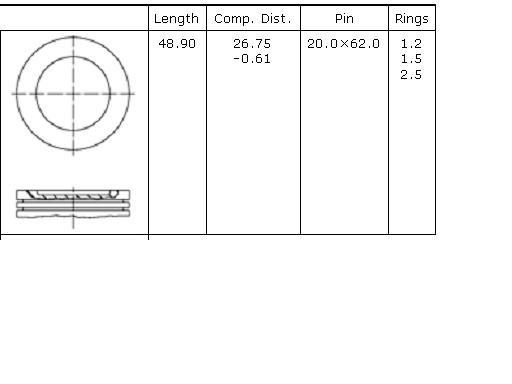 поршень в комплекте на 1 цилиндр, 1-й ремонт (+0,25)  PN53062