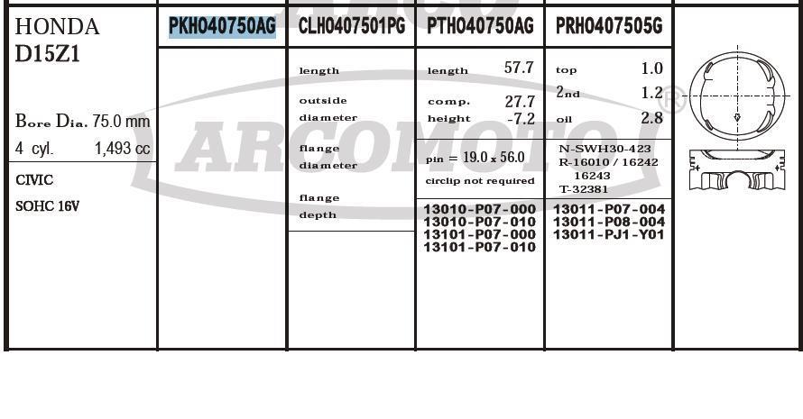 поршень (комплект на мотор), 2-й ремонт (+0,50)  PKHO40750AG020