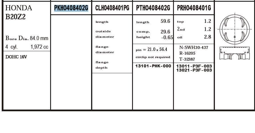 поршень (комплект на мотор), 2-й ремонт (+0,50)  PKHO408402G020