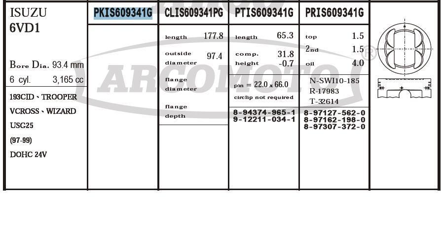 поршень (комплект на мотор), 2-й ремонт (+0,50)  PKIS609341G020