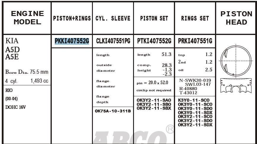 поршень (комплект на мотор), 4-й ремонт (+1.00)  PKKI407552G040
