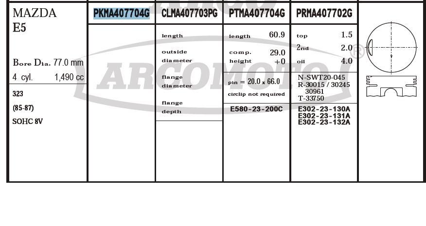поршень (комплект на мотор), 2-й ремонт (+0,50)  PKMA407704G020
