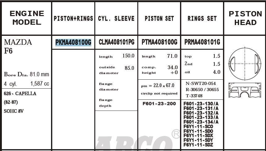 поршень (комплект на мотор), 2-й ремонт (+0,50)  PKMA408100G020