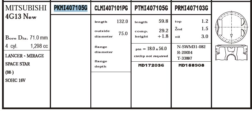 поршень (комплект на мотор), 2-й ремонт (+0,50)  PKMI407105G020