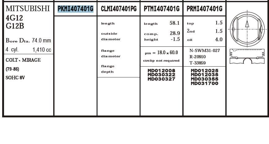 поршень (комплект на мотор), 2-й ремонт (+0,50)  PKMI407401G020