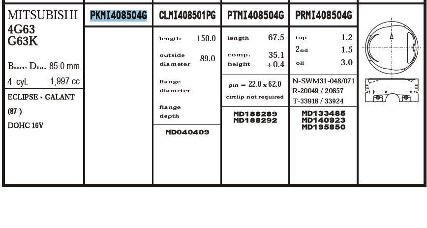 поршень (комплект на мотор), 4-й ремонт (+1.00)  PKMI408504G020