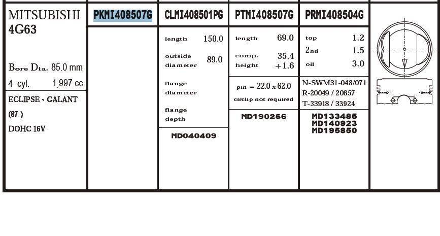 поршень (комплект на мотор), 4-й ремонт (+1.00)  PKMI408507G020