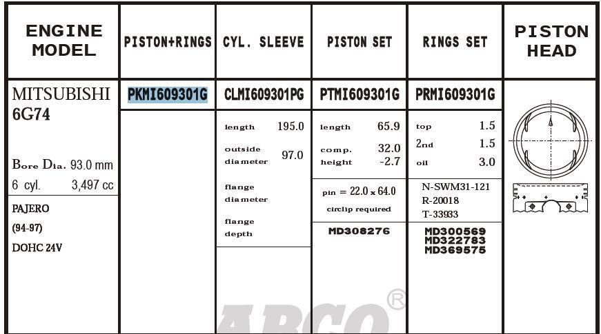 поршень (комплект на мотор), 2-й ремонт (+0,50)  PKMI609301G020