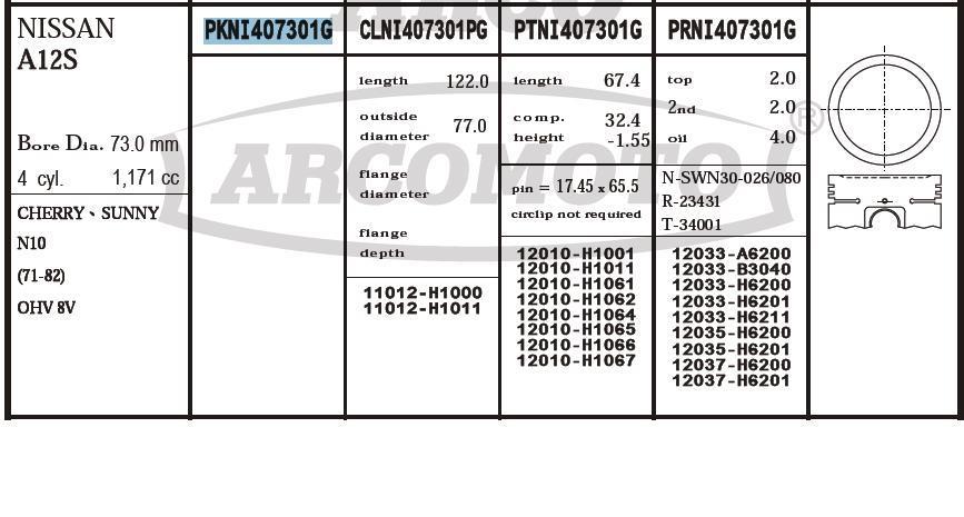 поршень (комплект на мотор), 2-й ремонт (+0,50)  PKNI407301G040
