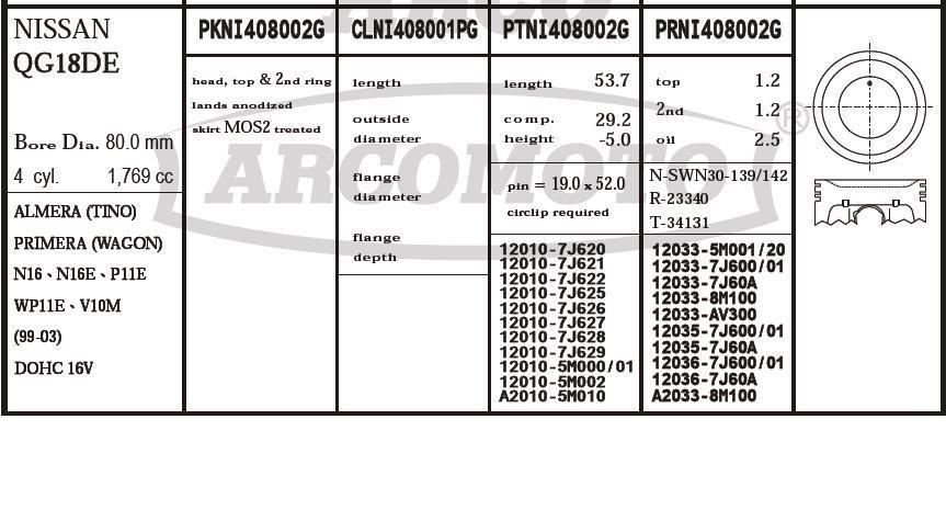 поршень (комплект на мотор), 2-й ремонт (+0,50)  PKNI408002G020