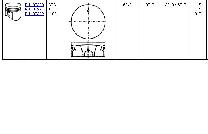 поршень с пальцем без колец, 2-й ремонт (+0,50)  PN33221
