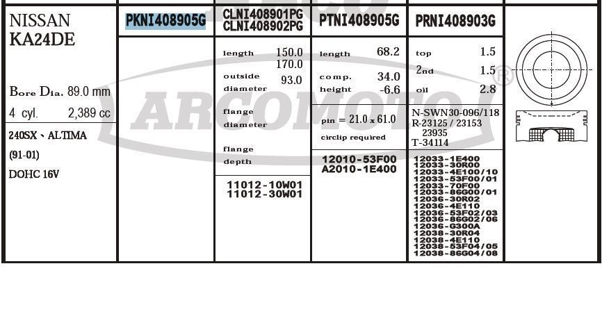 поршень (комплект на мотор), 2-й ремонт (+0,50)  PKNI408905G020