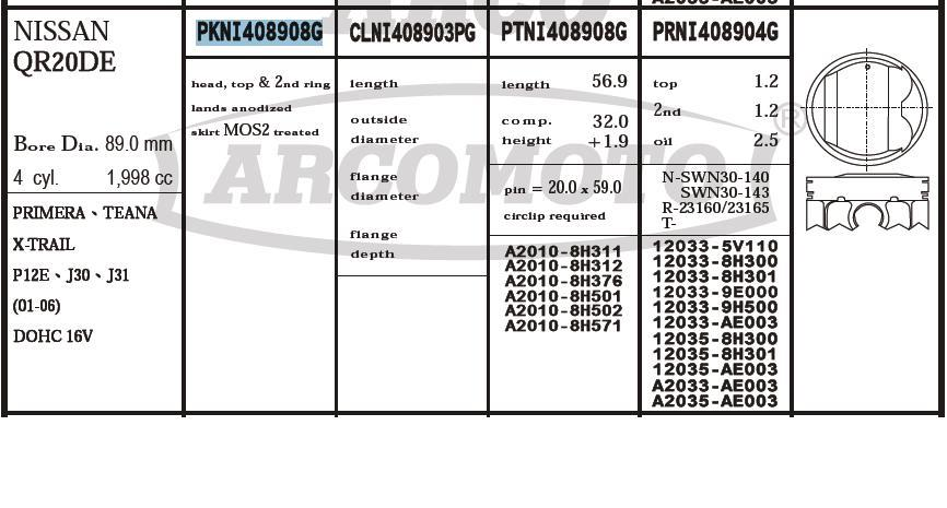 поршень (комплект на мотор), 2-й ремонт (+0,50)  PKNI408908G040