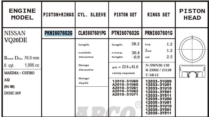 поршень (комплект на мотор), 2-й ремонт (+0,50)  PKNI607602G020