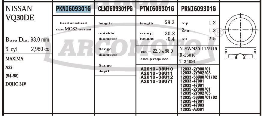 поршень (комплект на мотор), 2-й ремонт (+0,50)  PKNI609301G020