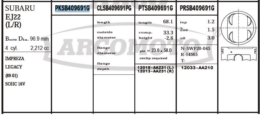 поршень (комплект на мотор), 2-й ремонт (+0,50)  PKSB409691G020