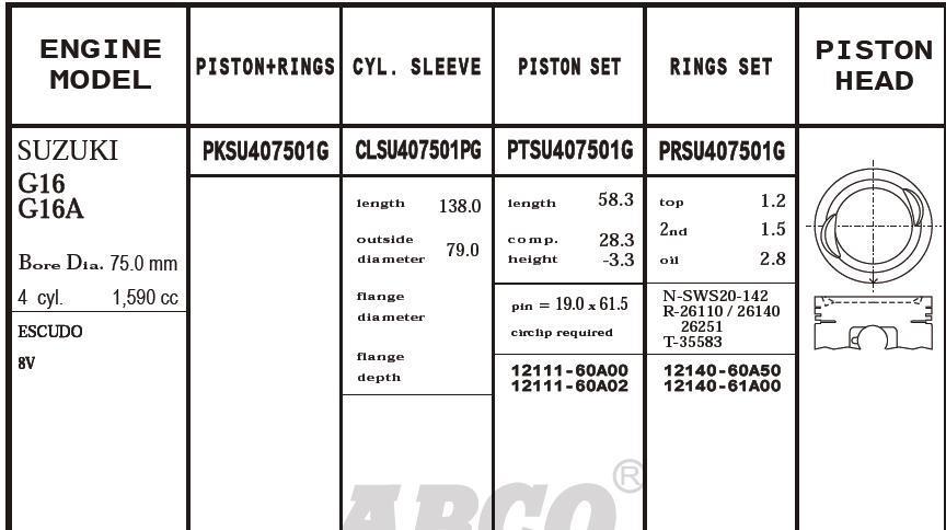поршень (комплект на мотор), 2-й ремонт (+0,50)  PKSU407501G020