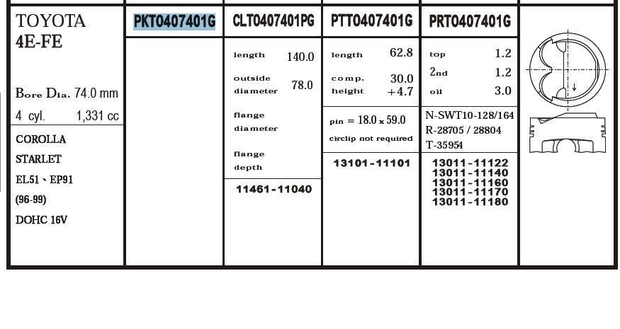 поршень (комплект на мотор), 4-й ремонт (+1.00)  PKTO407401G040