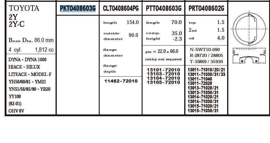 поршень (комплект на мотор), 4-й ремонт (+1.00)  PKTO408603G040