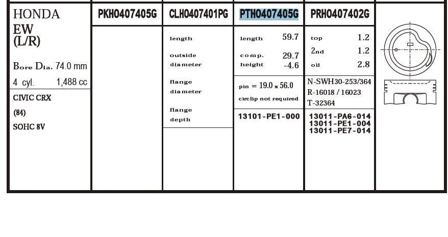 поршень в комплекте на 1 цилиндр, 2-й ремонт (+0,50)  PTHO407405G020