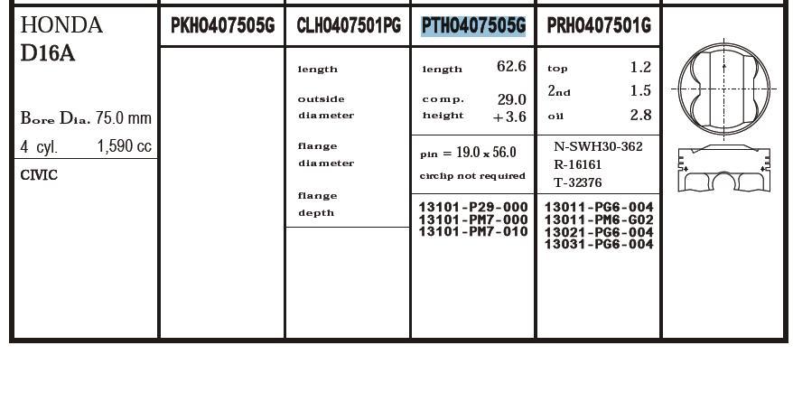 поршень в комплекте на 1 цилиндр, 2-й ремонт (+0,50)  PTHO407505GSTD