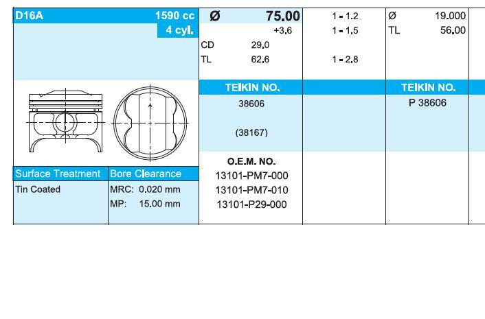 поршень (комплект на мотор), 4-й ремонт (+1.00)  38606100