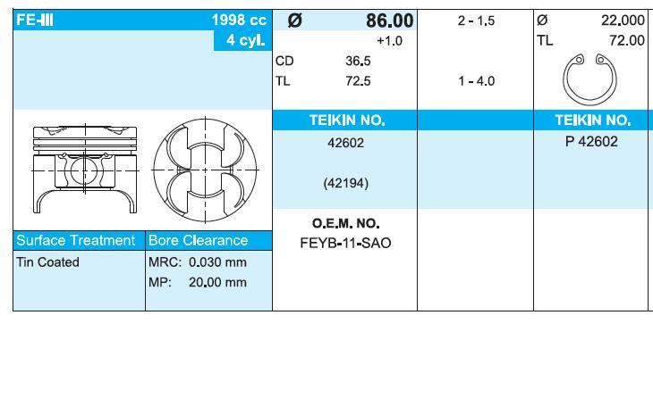 поршень (комплект на мотор), 4-й ремонт (+1.00)  42602100