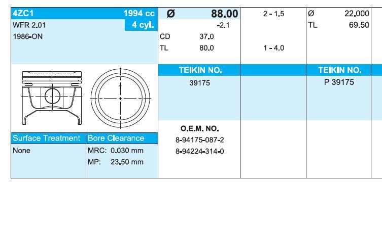 поршень (комплект на мотор), 4-й ремонт (+1.00)  39175100