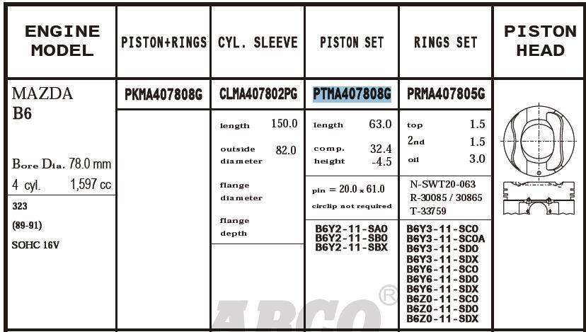 поршень (комплект на мотор), 2-й ремонт (+0,50)  PTMA407808G020