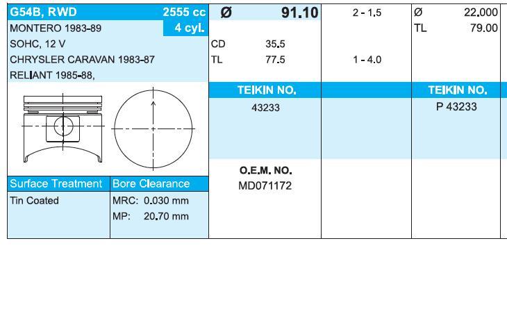 поршень (комплект на мотор), 4-й ремонт (+1.00)  43153100