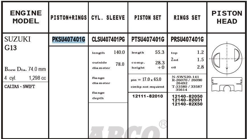 поршень (комплект на мотор), 2-й ремонт (+0,50)  PTSU407401G020