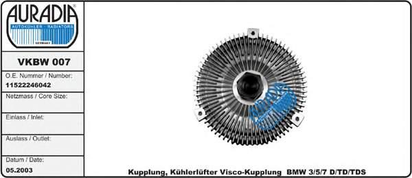 вискомуфта (вязкостная муфта) вентилятора охлаждения  VKBW007