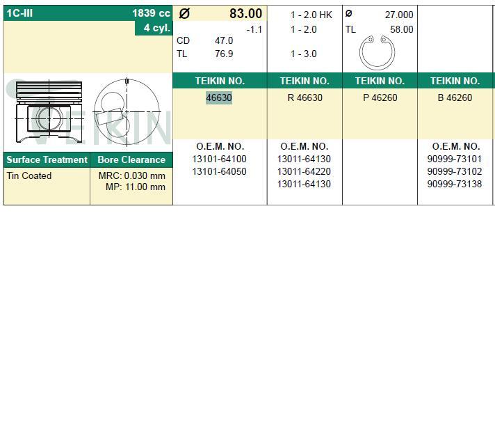 поршень в комплекте на 1 цилиндр, 4-й ремонт (+1,00)  PN34262