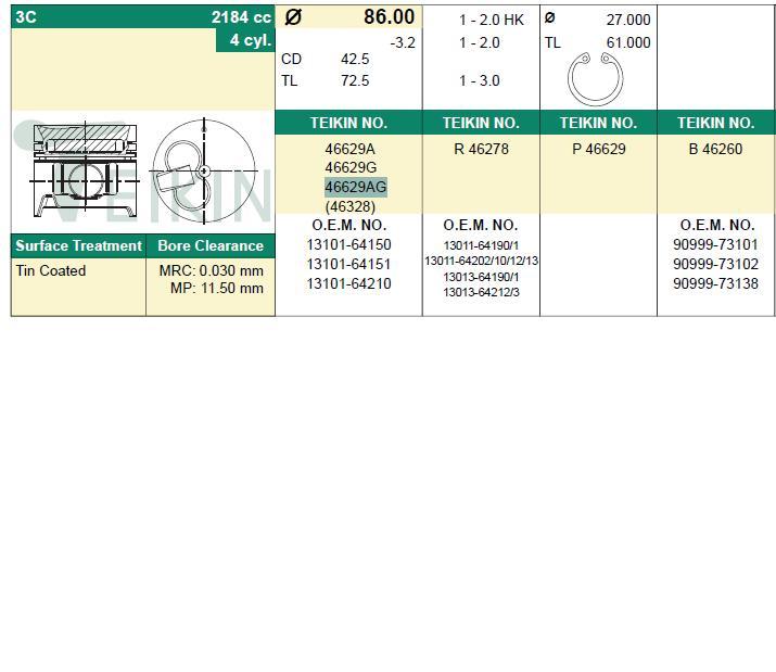 поршень в комплекте на 1 цилиндр, 4-й ремонт (+1,00)  PN34422