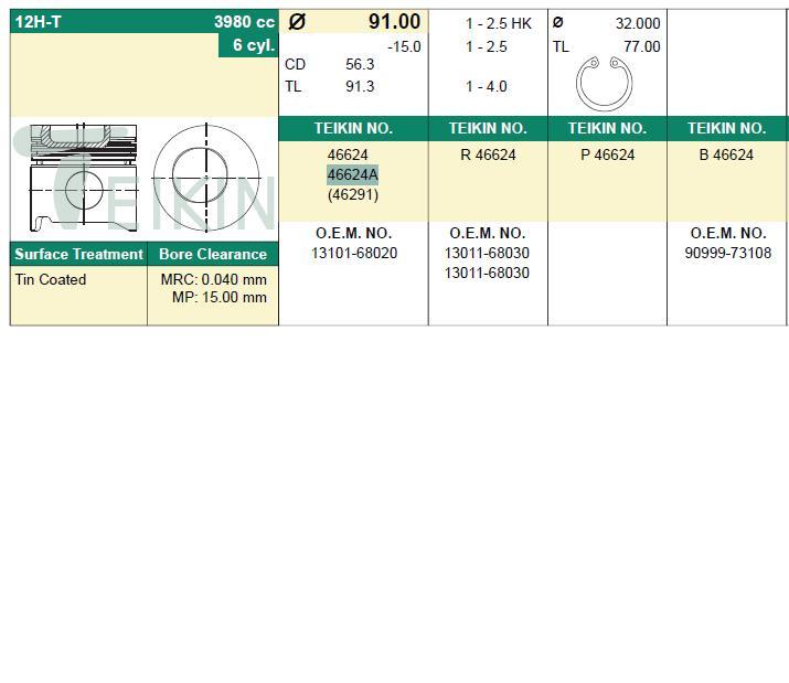 поршень в комплекте на 1 цилиндр, 1-й ремонт (+0,25)  PN34391