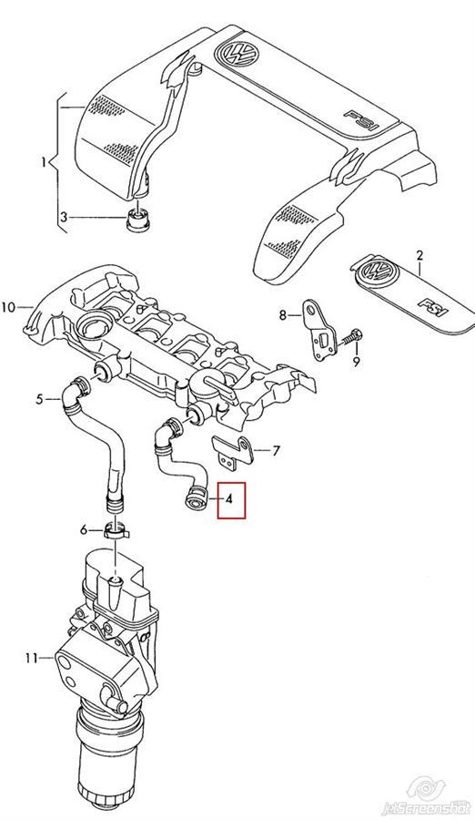 патрубок вентиляции картера (маслоотделителя)  V103100