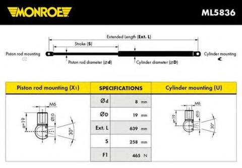 ML5836 Monroe амортизатор двери пятой