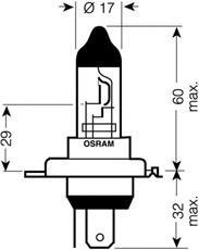 Лампочка галогенная, дальний/ближний свет OSRAM 64196