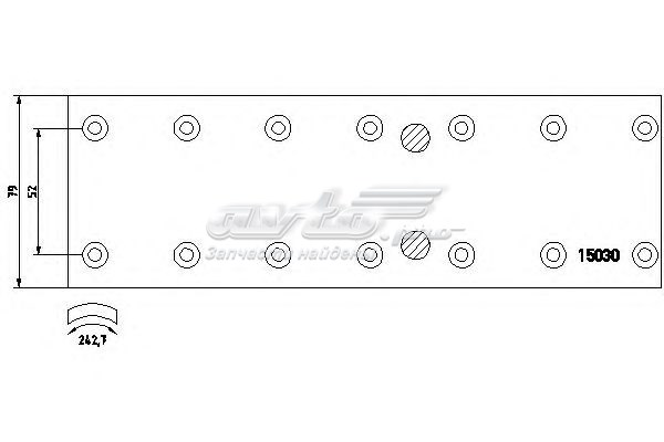 Накладки тормозные mercedes 408d-508d 270x79x8 std