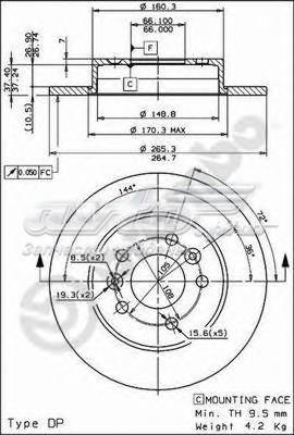 Диск тормозной задн renault (диск тормозной задний renault laguna i (b56_, 556_) 11/93-08/02 / renault laguna i grandtour (k56_) 09/95-08/02 / renault safrane i (b54_) 04/92-10/97 / renault safrane ii (b54_) 07/96-12/00 renault)