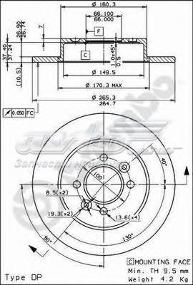 Диск тормозной задний (диск тормозной задний renault laguna i (b56_, 556_) 11/93-08/02 / renault laguna i grandtour (k56_) 09/95-08/02 / renault safrane i (b54_) 04/92-10/97 renault)