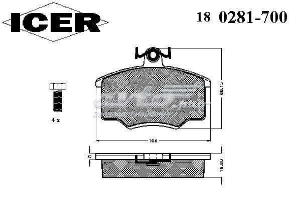 Колодки дисковые передние (180281700300001 тормозные колодки дисковые)
