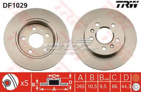 Диск тормозной задний (тормозной диск df1029)