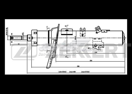 Амортизатор подвески газ. перед. прав. peugeot 207 06-