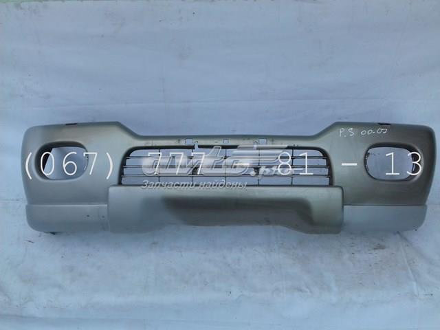 Бампер передний цвет серый под омыватель фар (mr508329) арт.00269 mitsubishi pahero sport (00-07) после грунтовки и ремонта под покраску.