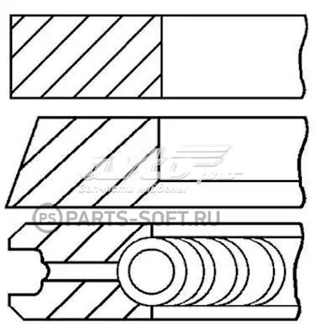 Кольца поршневые на 1 цилиндр, 2-й ремонт (+0,50) GOETZE 0833650700